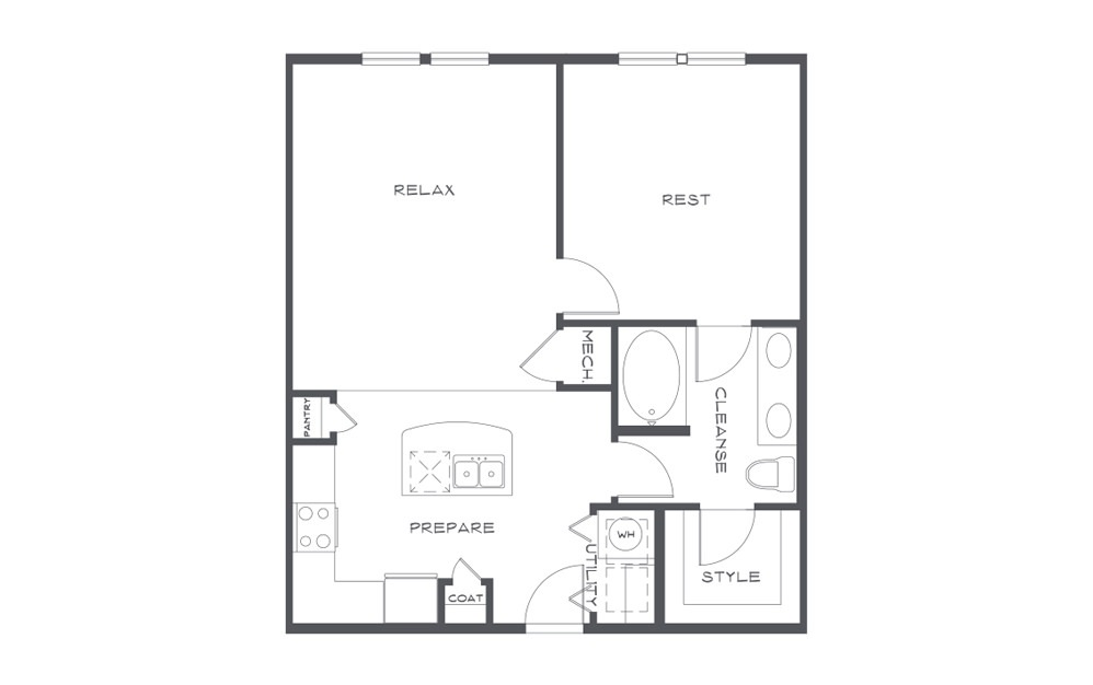 A2 Platinum - 1 bedroom floorplan layout with 1 bath and 780 square feet. (2D)