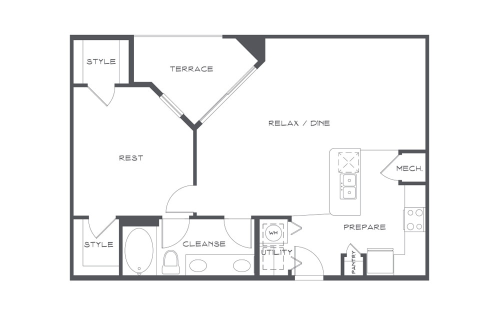 A3t - 1 bedroom floorplan layout with 1 bath and 920 square feet. (2D)