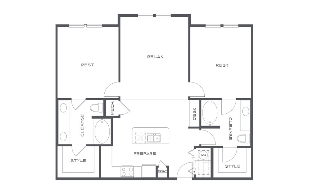 B2 - 2 bedroom floorplan layout with 2 baths and 1190 square feet. (2D)