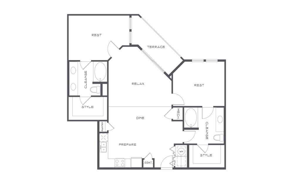 B3t - 2 bedroom floorplan layout with 2 baths and 1260 square feet. (2D)