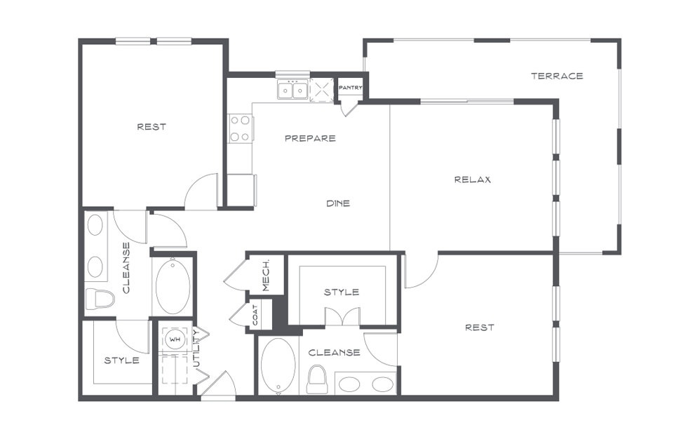 B4t - 2 bedroom floorplan layout with 2 baths and 1320 square feet. (2D)