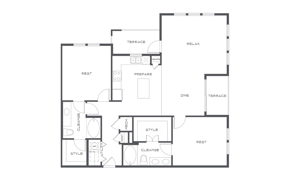 B5t - 2 bedroom floorplan layout with 2 baths and 1420 square feet. (2D)