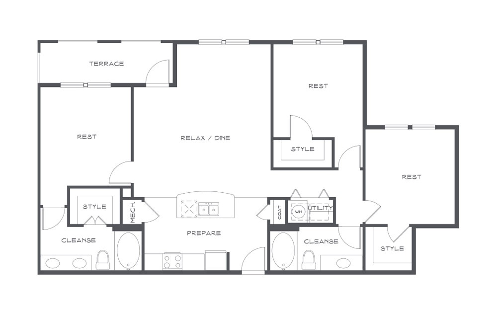 C1t - 3 bedroom floorplan layout with 2 baths and 1450 square feet. (2D)